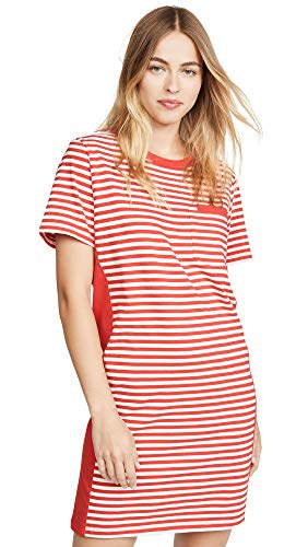 (Current/Elliott Women's The Beatnik Dress with Side Panels, Red White Stripe, 3)