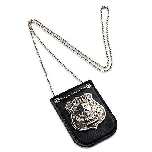 Dress Up America Pretend Play Police Badge with Chain and Belt Clip]()