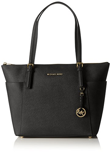Michael Kors Women's Jet Set Large Top-Zip Saffiano Leather Tote Bag, Black, OS Tote Top Zip Handbag