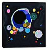 """""""Several Circles"""". Featuring a print of the original painting by Wassily Kandinsky (circa 1926). Dimensions: 18""""W x .75""""L x 18""""H"""