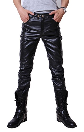 TM fashion Hip Hop personality Faux Leather pants Trousers slim mens skinny pants (Any Day Chino Pants)