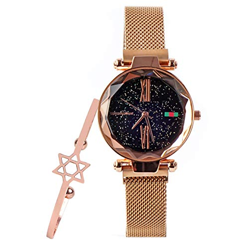 - Fashion Starry Sky Magnetic Watch with Rose Gold Bangle Romantic Gift for Women Thin Strap Wristwatch