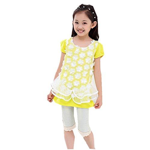 Children's Summer Girls Long Style T-Shirt Korean Lace Round Neckline by MV
