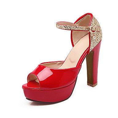 LvYuan Mujer-Tacón Robusto-Otro-Sandalias-Boda Informal Fiesta y Noche-Cuero Patentado Purpurina-Rosa Rojo Blanco Red