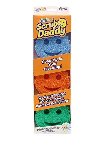 Scrub Daddy Sponge Set – Colors – Scratch-Free Scrubbers for Dishes and Home, Odor Resistant, Soft in Warm Water, Firm…