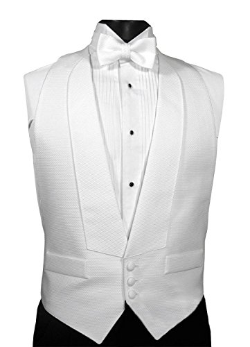 - White Pique Adjustable Backless Tuxedo Vest with Matching (self tie) Bow Tie