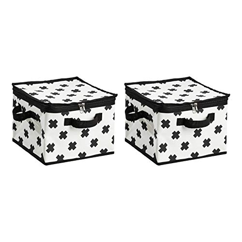 AmazonBasics Canvas Zippered Storage Bag - Black/White, 2-Pack