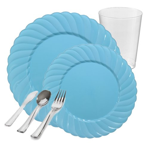Posh Party Supplies | Flaired Pastel Blue Plastic Tableware Party Package for 20 Guests | Dinner & Dessert Plates, Plastic Tumblers & Plastic Silver Cutlery | 120 Piece Total