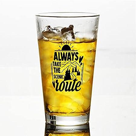 Copa de cristal Always Take The Scenic Route Vaso para agua, zumo, cerveza, licor, whisky en boda, fiesta, día de la madre, día del padre, cumpleaños.