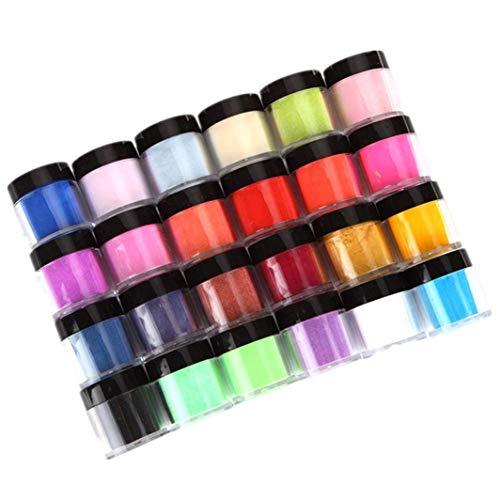 HitHopKing 24 Colors Acrylic Powder Set for Nail Art 3D DIY Tips ()