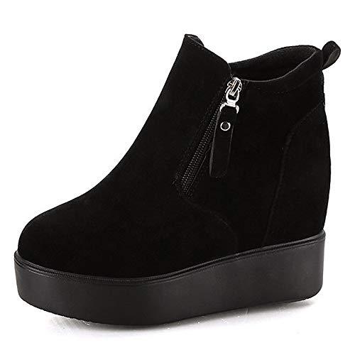 IWxez Damenmode Stiefel PU (Polyurethan) Winter Minimalismus Minimalismus Minimalismus Stiefel Creepers Round Toe Stiefelies Stiefeletten Schwarz 83ec66