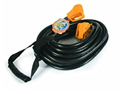 Camco's 30 AMP 50 foot Power Grip Extension Cord features the patented Power Grip handles for ease of use. The 30-amp cord includes a convenient carrying strap. It is rated at 125V, 3750 W and has a 10 gauge STW cord. Cord has TT-30P plug and...