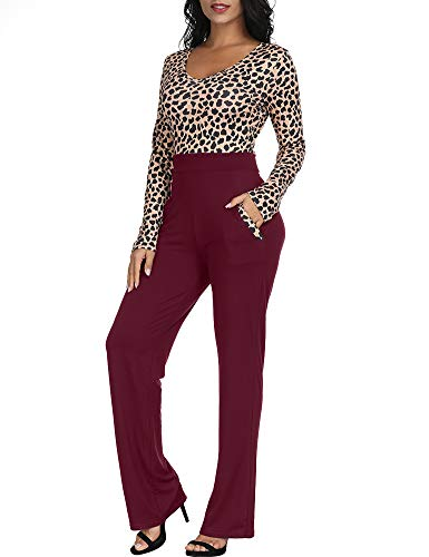 4c4e796c4aa8 Amazon.com  Zaoqee Women s Long Sleeve V Neck Leopard Print Jumpsuit High  Waist Romper  Clothing