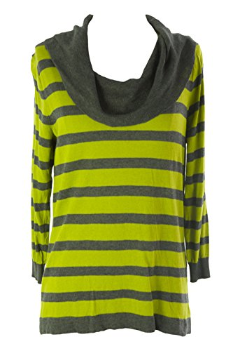 August Silk Women's Striped Cowl Neck Sweater X-Large Lime Leaf