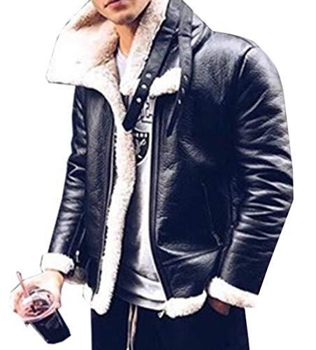 Miracle Men's Fashion Warm Sheep Faux Leather Coat Jacket Lamb Wool Lined Jacket