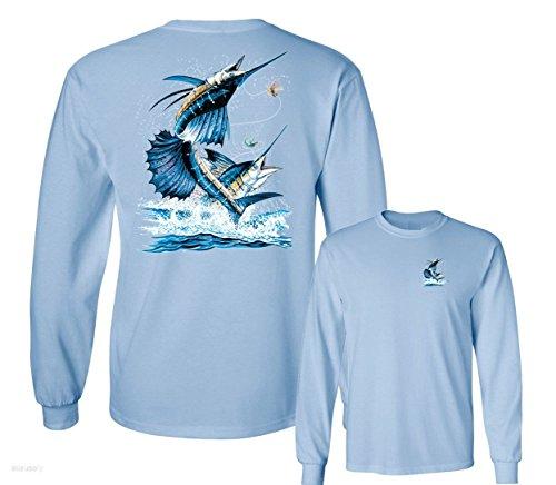 (TWO SAILFISH DEEP SEA FISHING SALT WATER FISH LONG SLEEVE TEE, Light Blue,XL)