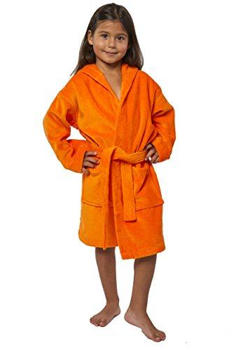 TurkishTowels Terry Velour Hooded Kids Bathrobe (Ages 7-11, Orange) ()