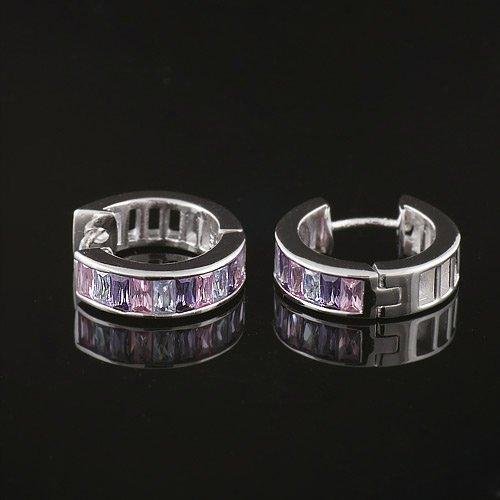 925 Sterling Silver Swarovski Crystal Pink Purple Lavender Hoop Huggie Earrings