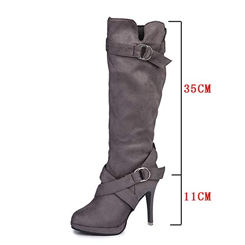 Gray Autumn Culf Fashion Women uk Women 7 Heels Thin Mid Transer Shoes Boots Black Black Boots Gray Brown size 2018 High SIRAAwq