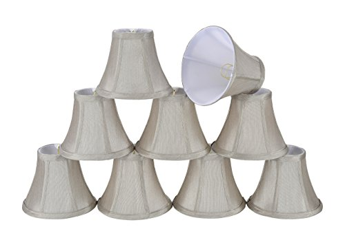 30033-9 Small Bell Shape Chandelier Clip-On Lamp Shade Set (9 Pack), Transitional Design in Grey, 6