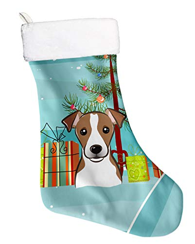 Maltese Russell Jack (Caroline's Treasures Tree and Jack Russell Terrier Christmas, Holiday Stocking, Decoration, 11 x 18, Multicolor)