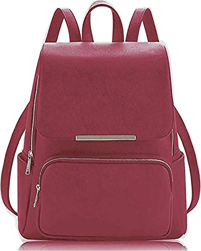 SkyTheme Stylish Ladies Backpack cum Handbag, Shoulder bag, College bag (ONION RED)