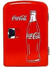 Coca-Cola Classic Portable 6 Can Thermoelectric Mini Fridge Cooler/Warmer, 4 L/4.2 Quarts Capacity, 12V DC/110V AC for home, dorm, car, boat, beverages, snacks, skincare, cosmetics, medication