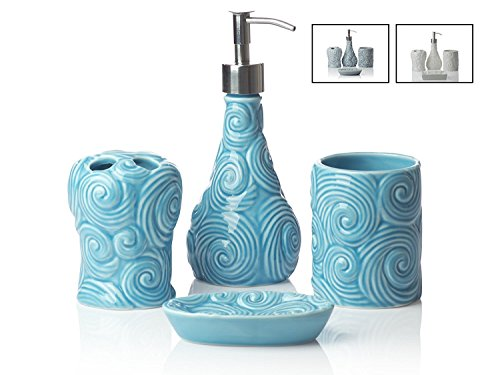 Designer - 4 Piece Bathroom Accessories Set | With Soap or Lotion Dispenser, Toothbrush Holder, Tumbler and Soap Dish | Glossy Finish | Porcelain (Ocean Waves, Aqua Blue)