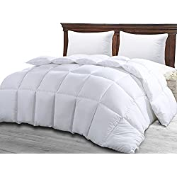 Best Queen Size Bed White Luxury Quilted Comforter for Women, Hypoallergenic Microfiber One-Piece Set, Fluffy Hotel Reversible Duvet Insert, -Winter Softer Than Goose Alternative Down Comforters