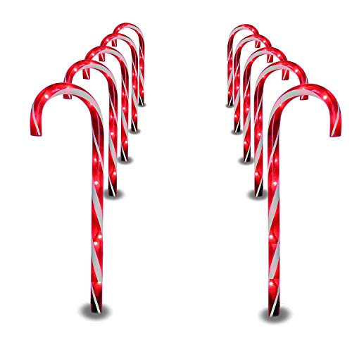 Prextex Christmas Candy Cane Pathway Markers Set of 10 Christmas Indoor/Outdoor Decoration Lights (Decorations Powered Christmas Solar)