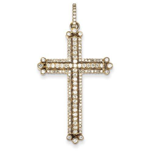 Icecarats Diamant Créatrice De Bijoux De 14K Bourgeonné Pendentif Croix