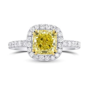 2.84Cts Yellow Diamond Engagement Halo Ring Set in 18K White Yellow Gold GIA Size 7.25