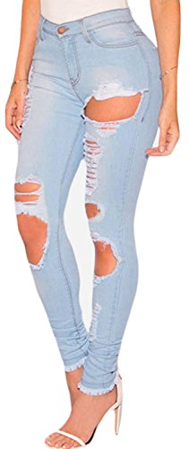 IF FEEL Women Casual Denim Destroyed Ripped Distressed Skinny Jeans ((US 4-6)S, light blue)