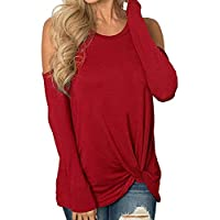 OWMEOT Womens Cold Shoulder Long Sleeve Swing Tunic Tops Leggings