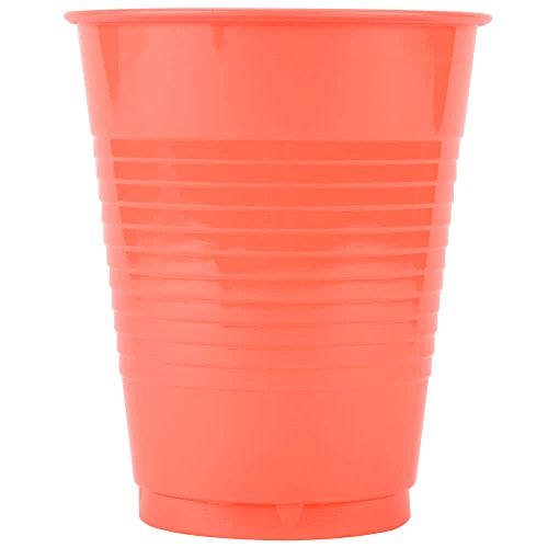 28314681 16 oz. Coral Orange Plastic Cup - 20/Pack By TableTop King