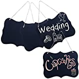 MyGift Set of 4 Rustic Style Twine Hanging Black Wood Chalk Message Boards/Decorative Chalkboard Wedding Signs