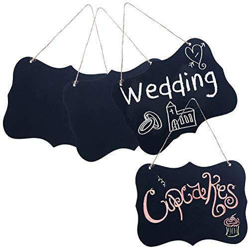 - MyGift Set of 4 Rustic Style Twine Hanging Black Wood Chalk Message Boards/Decorative Chalkboard Wedding Signs