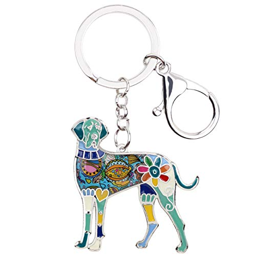 (WEVENI Enamel Alloy Great Dane Dog Key Chain Ring Handbag Bag Charm Keychain Fashion Jewelry For Women Girls Gifts (Blue))