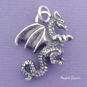 925 Sterling Silver 3-D Winged Dragon Charm Pendant Jewelry Making Supply, Pendant, Charms, Bracelet, DIY Crafting by Wholesale Charms