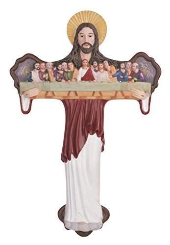 StealStreet SS-G-282 Jesus Cross Atrio with Last Supper Apostles Holy Religious Wall Decor