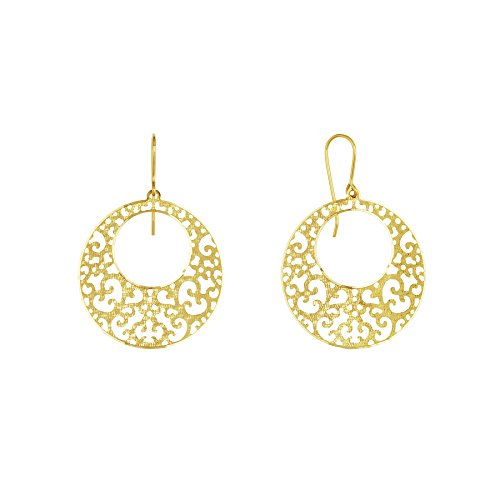 14k Yellow Gold Filigree Cut-out Disc Earrings
