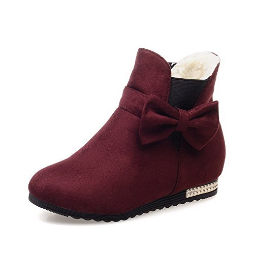 Allhqfashion Women's Pull-on Low-Heels Imitated Suede Solid Low-top Boots Claret