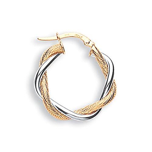 9ct 2Couleur or blanc et jaune Twisted Boucles d'oreilles créoles 2.1G