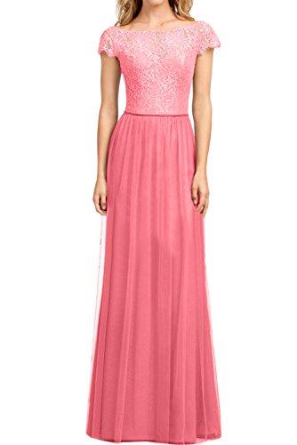 Wassermelone Damen A Spitze Elegant Partykleid Ivydressing Arm Promkleid Ballkleider Linie Abendkleider pRq64vwx