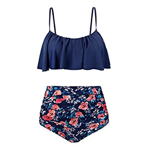Angerella Womens High Waisted Bikini Flounce Top Bathing Suits Swimwear