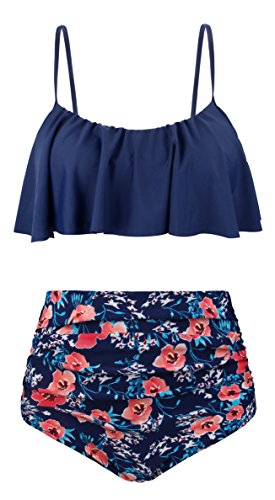 (EasyMy Womens Vintage High Waisted Flounce Padded Bikini Set Swimsuit, Navy+Floral, US 6-8=Tag Size L)