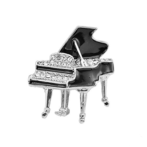 Swarovski Crystal Piano - chelseachicNYC Tiny Jewel Crystal Shimmering Grand Piano Brooch Pin Silver