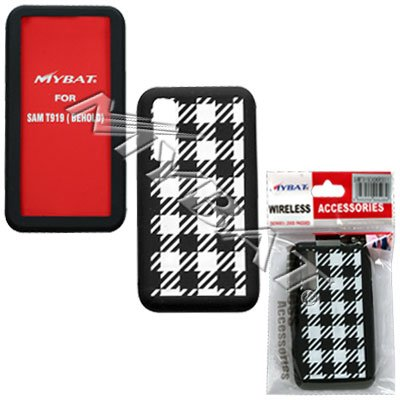 (Black and White Checkered Design Soft Silicone Gel Skin Cover Case for Samsung Behold T919)