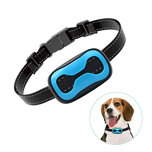 POP VIEW Dog Anti Bark Collar, Small, Medium, Large Dogs, 7 Adjustable Levels with Sound and Vibration, No Shock, Harmless & Humane, Stops Dogs Barking Blue