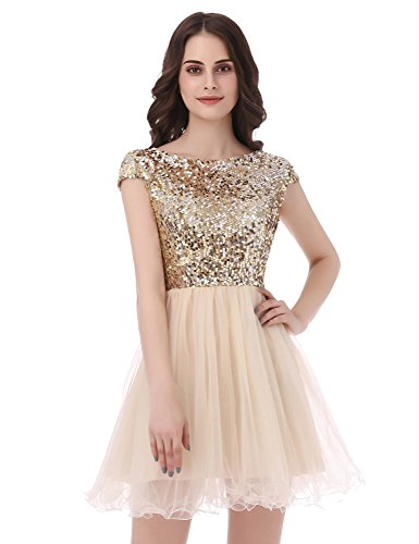Sweet 16 Dresses Gowns (Anmor Juniros Short Sequin Homecing Dresses Sweet 16 Tulle Prom Party Gowns Gold US2)